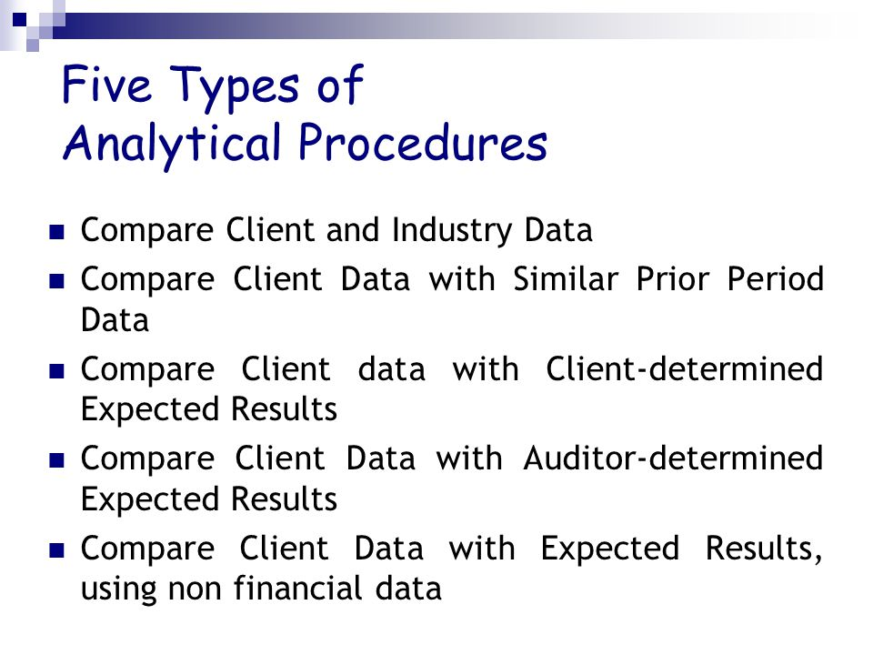 Five Types of Analytical Procedures