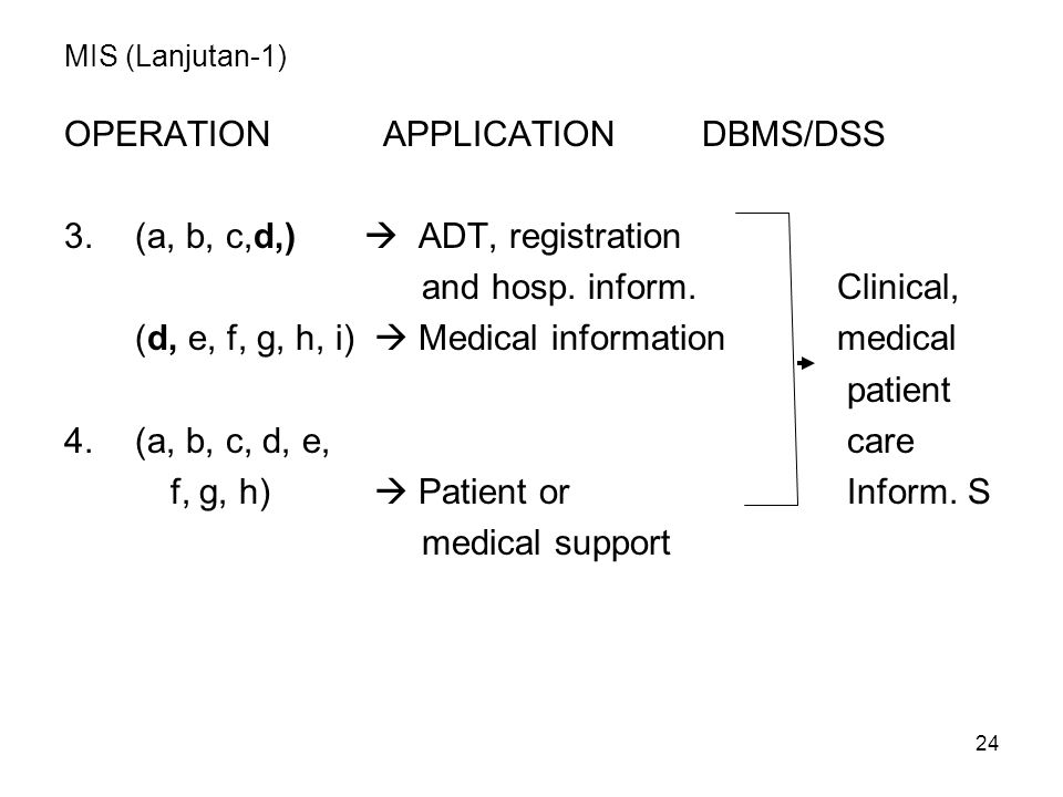 OPERATION APPLICATION DBMS/DSS (a, b, c,d,)  ADT, registration