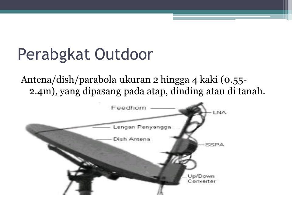Perabgkat Outdoor Antena/dish/parabola ukuran 2 hingga 4 kaki (0.55- 2.4m), yang dipasang pada atap, dinding atau di tanah.