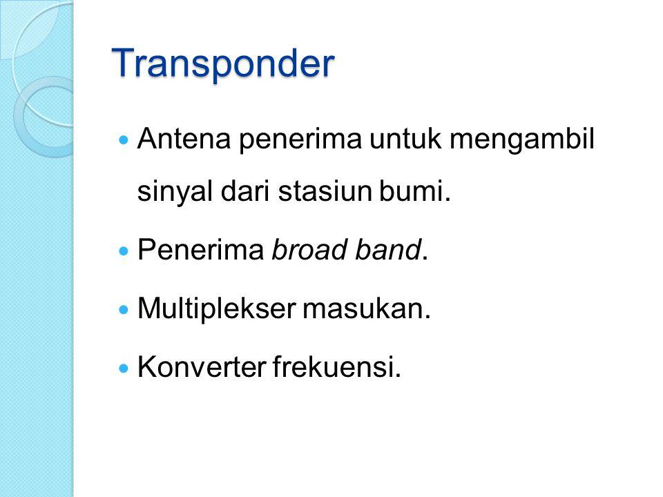 Transponder Antena penerima untuk mengambil sinyal dari stasiun bumi.