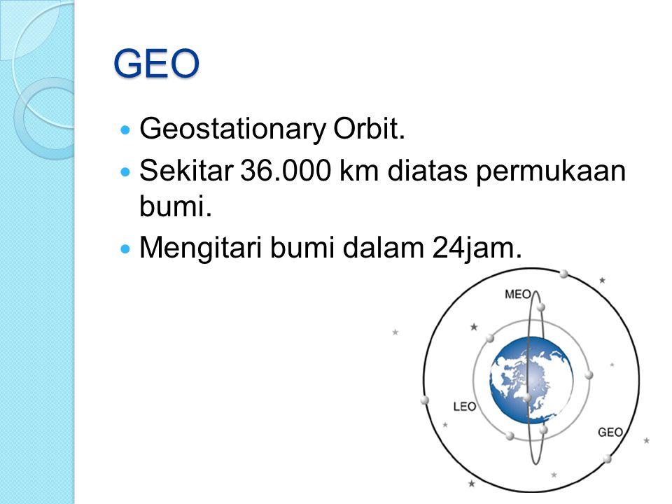 GEO Geostationary Orbit. Sekitar 36.000 km diatas permukaan bumi.