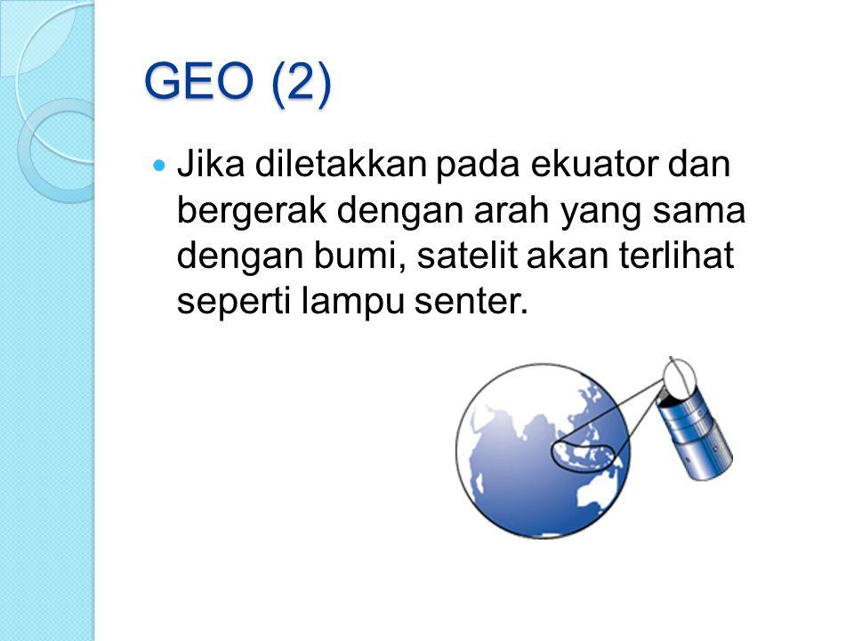 GEO (2) Jika diletakkan pada ekuator dan bergerak dengan arah yang sama dengan bumi, satelit akan terlihat seperti lampu senter.