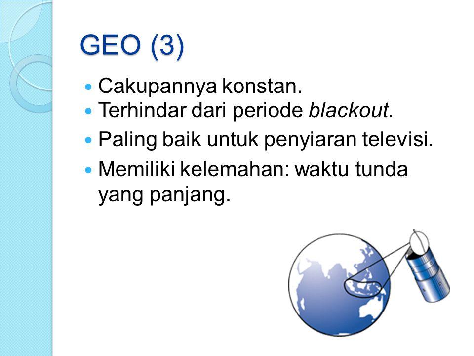 GEO (3) Cakupannya konstan. Terhindar dari periode blackout.