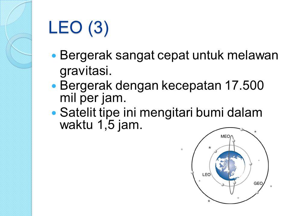 LEO (3) Bergerak sangat cepat untuk melawan gravitasi.