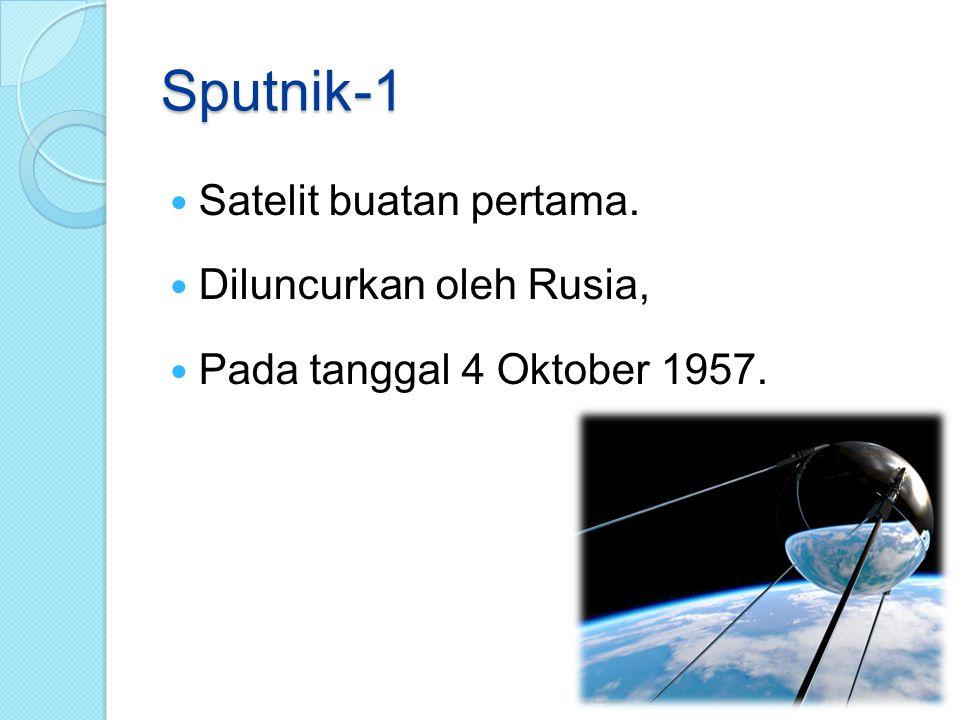Sputnik-1 Satelit buatan pertama. Diluncurkan oleh Rusia,