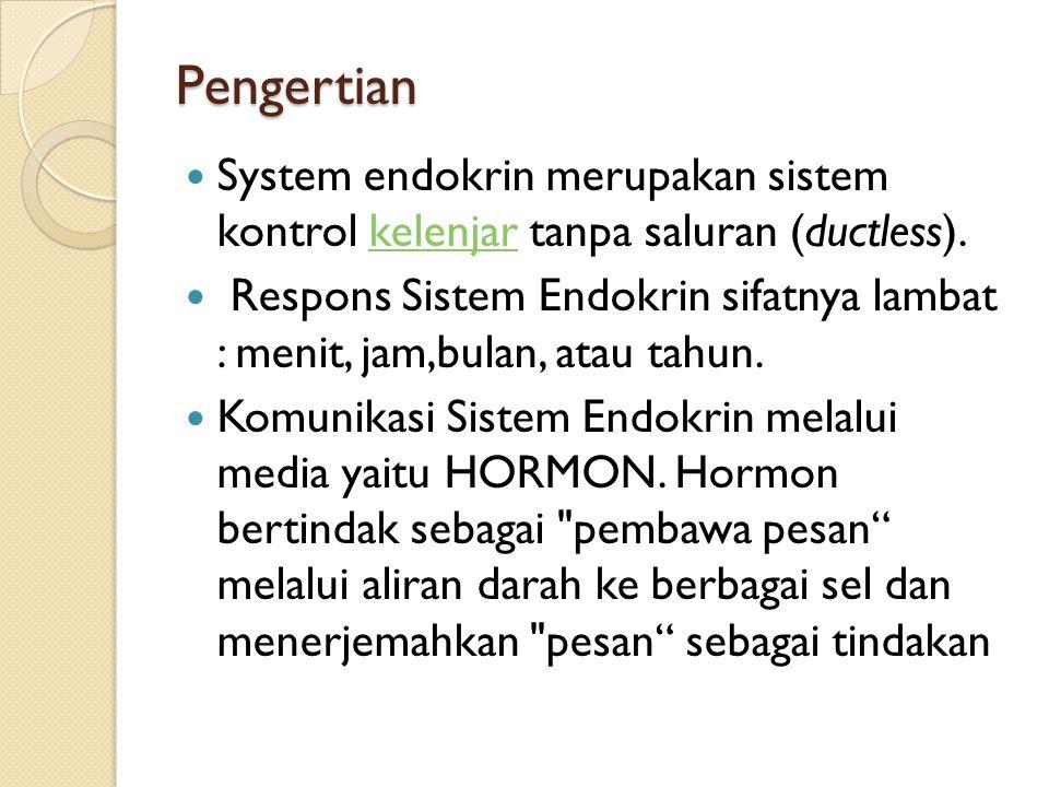 Pengertian System endokrin merupakan sistem kontrol kelenjar tanpa saluran (ductless).