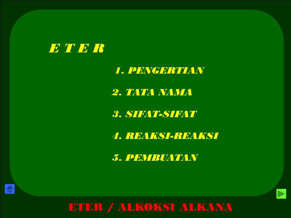 E T E R ETER / ALKOKSI ALKANA 1. PENGERTIAN 2. TATA NAMA