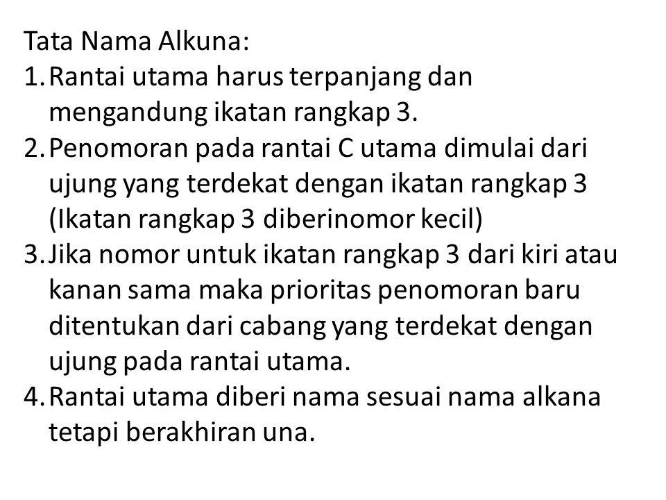 Tata Nama Alkuna: Rantai utama harus terpanjang dan mengandung ikatan rangkap 3.