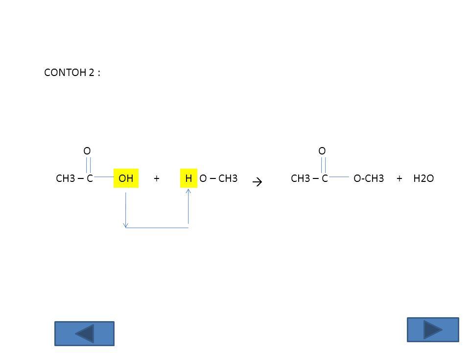 CONTOH 2 : O O CH3 – C OH + H O – CH3 CH3 – C O-CH3 + H2O 
