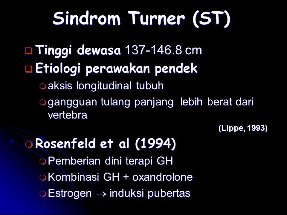 Sindrom Turner (ST) Tinggi dewasa 137-146.8 cm