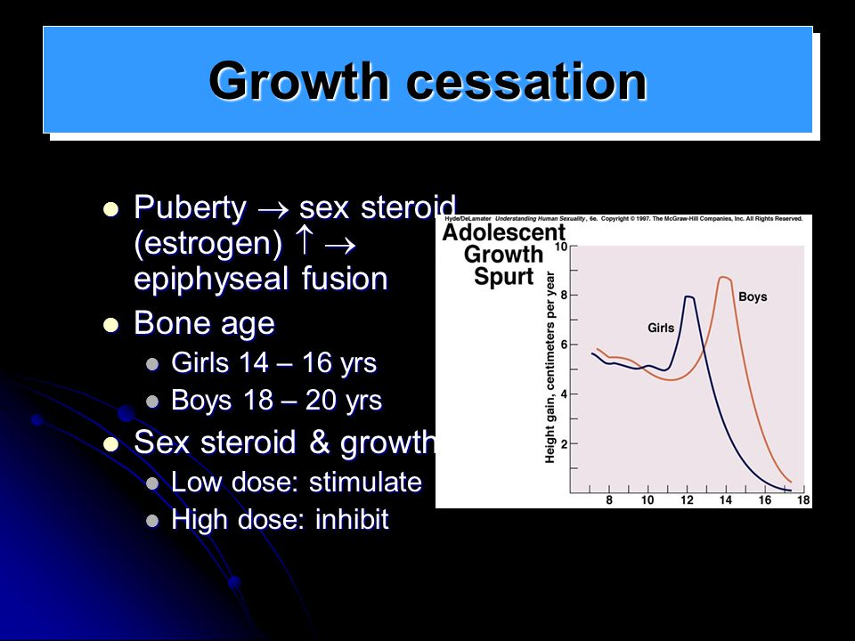 Growth cessation Puberty  sex steroid (estrogen)   epiphyseal fusion. Bone age. Girls 14 – 16 yrs.