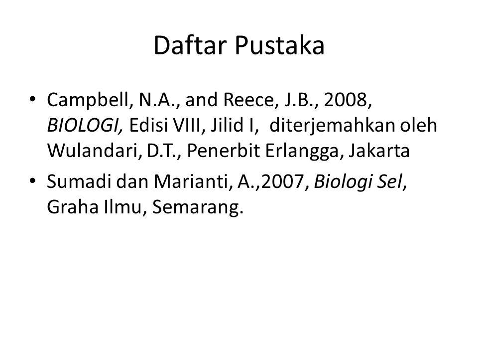 Daftar Pustaka Campbell, N.A., and Reece, J.B., 2008, BIOLOGI, Edisi VIII, Jilid I, diterjemahkan oleh Wulandari, D.T., Penerbit Erlangga, Jakarta.