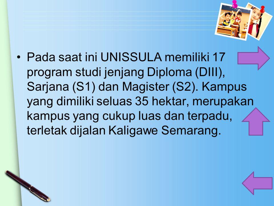 Pada saat ini UNISSULA memiliki 17 program studi jenjang Diploma (DIII), Sarjana (S1) dan Magister (S2).
