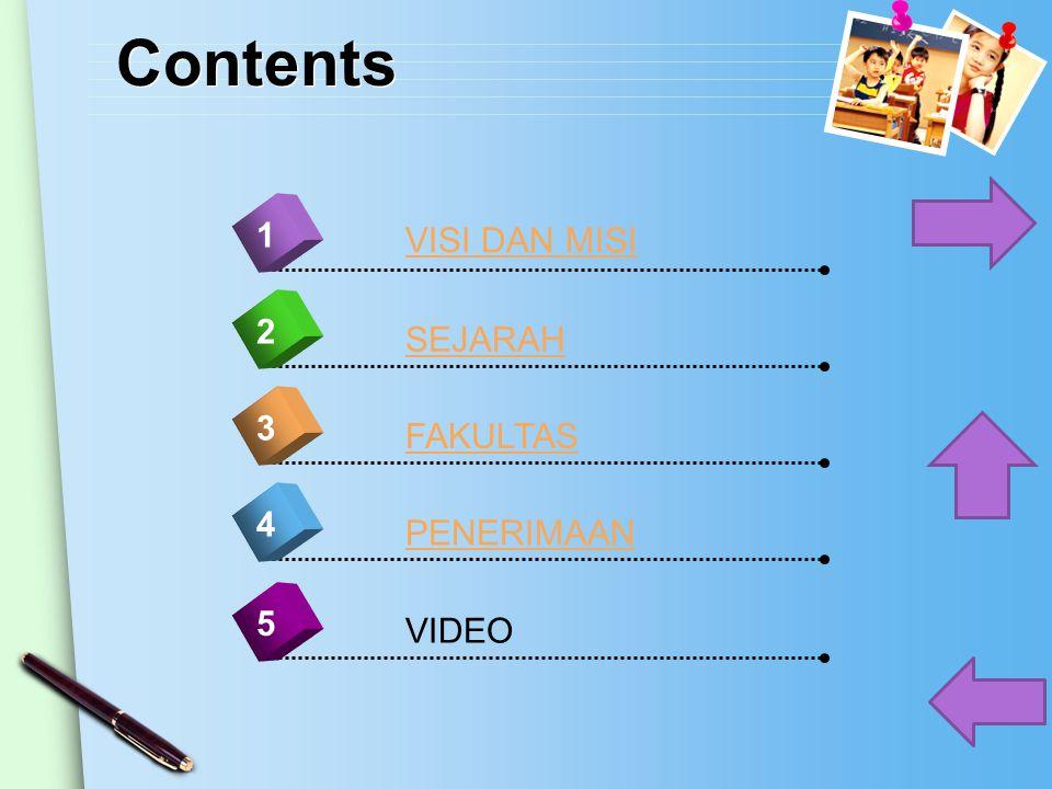 Contents 1 VISI DAN MISI 2 SEJARAH 3 FAKULTAS 4 PENERIMAAN 5 VIDEO