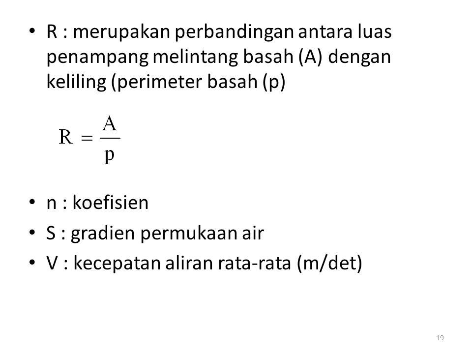 R : merupakan perbandingan antara luas penampang melintang basah (A) dengan keliling (perimeter basah (p)