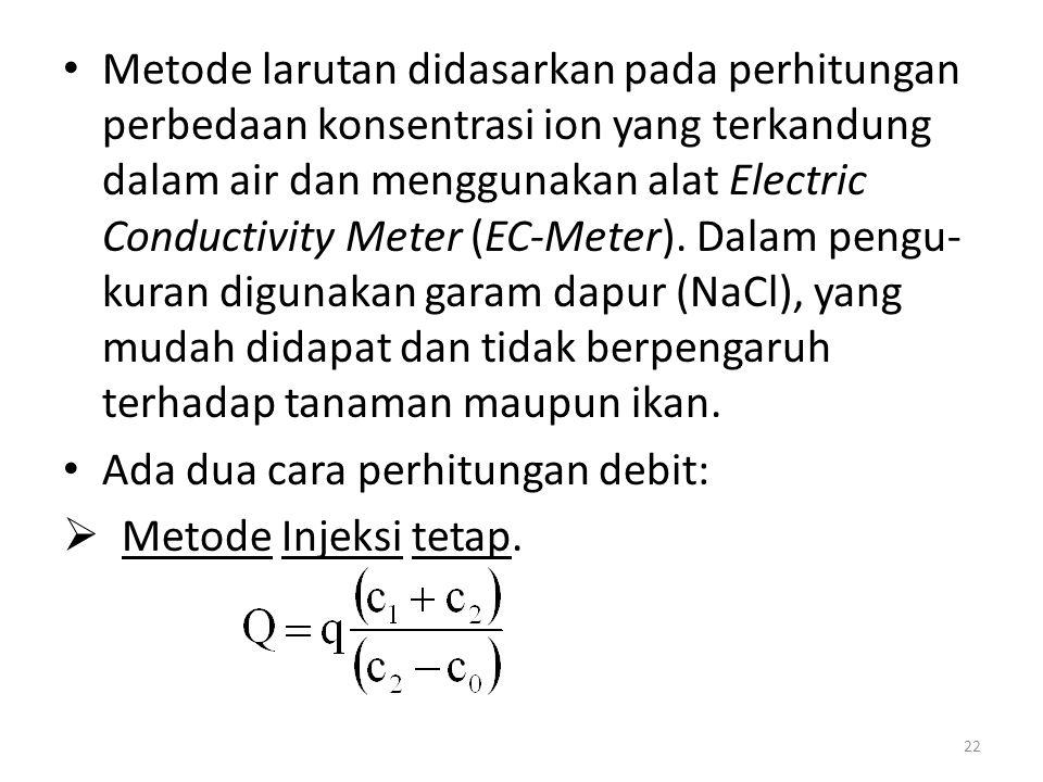 Metode larutan didasarkan pada perhitungan perbedaan konsentrasi ion yang terkandung dalam air dan menggunakan alat Electric Conductivity Meter (EC-Meter). Dalam pengu-kuran digunakan garam dapur (NaCl), yang mudah didapat dan tidak berpengaruh terhadap tanaman maupun ikan.