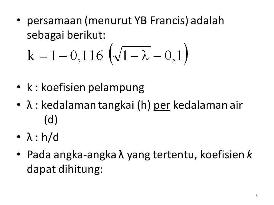 persamaan (menurut YB Francis) adalah sebagai berikut: