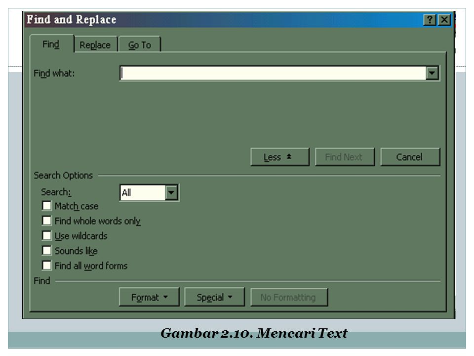 Gambar 2.10. Mencari Text