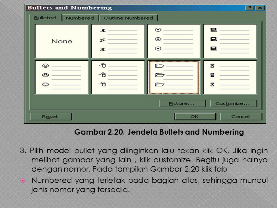 3. Pilih model bullet yang diinginkan lalu tekan klik OK
