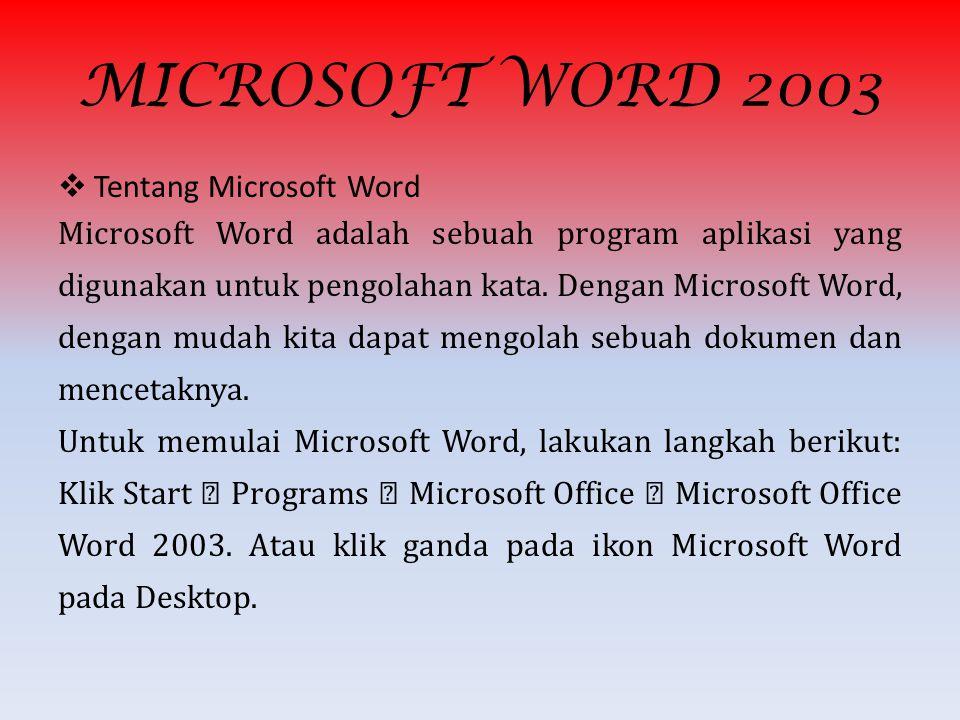 MICROSOFT WORD 2003 Tentang Microsoft Word