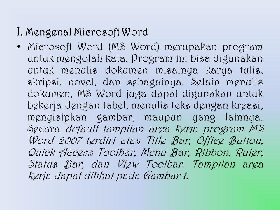 I. Mengenal Microsoft Word
