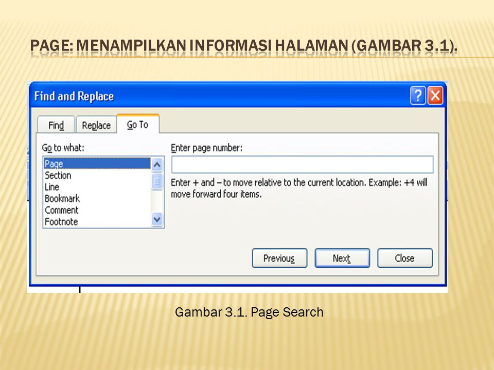Page: menampilkan informasi halaman (Gambar 3.1).