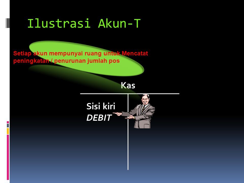 Ilustrasi Akun-T Kas Sisi kiri DEBIT