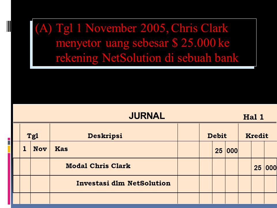 (A). Tgl 1 November 2005, Chris Clark menyetor uang sebesar $ 25
