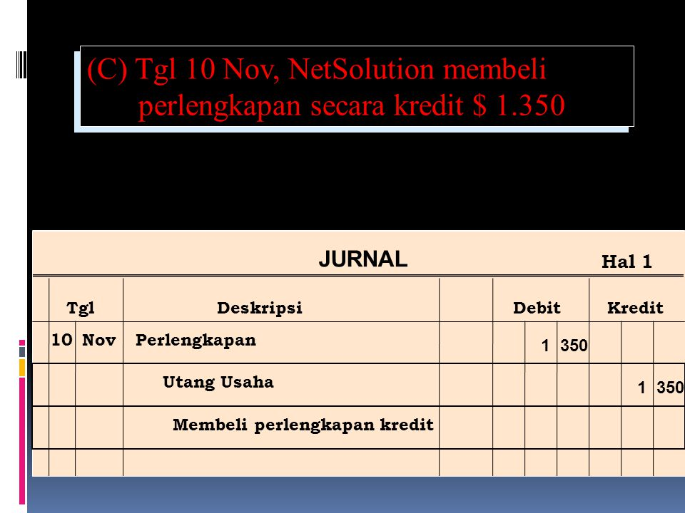 (C) Tgl 10 Nov, NetSolution membeli perlengkapan secara kredit $ 1.350