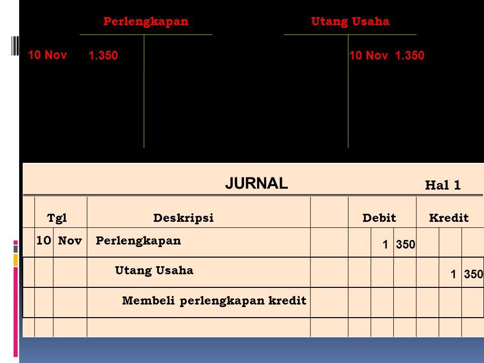 JURNAL Hal 1 Perlengkapan Utang Usaha 10 Nov 1.350 10 Nov 1.350 Tgl