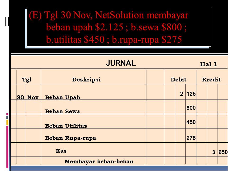 (E) Tgl 30 Nov, NetSolution membayar beban upah $2. 125 ; b