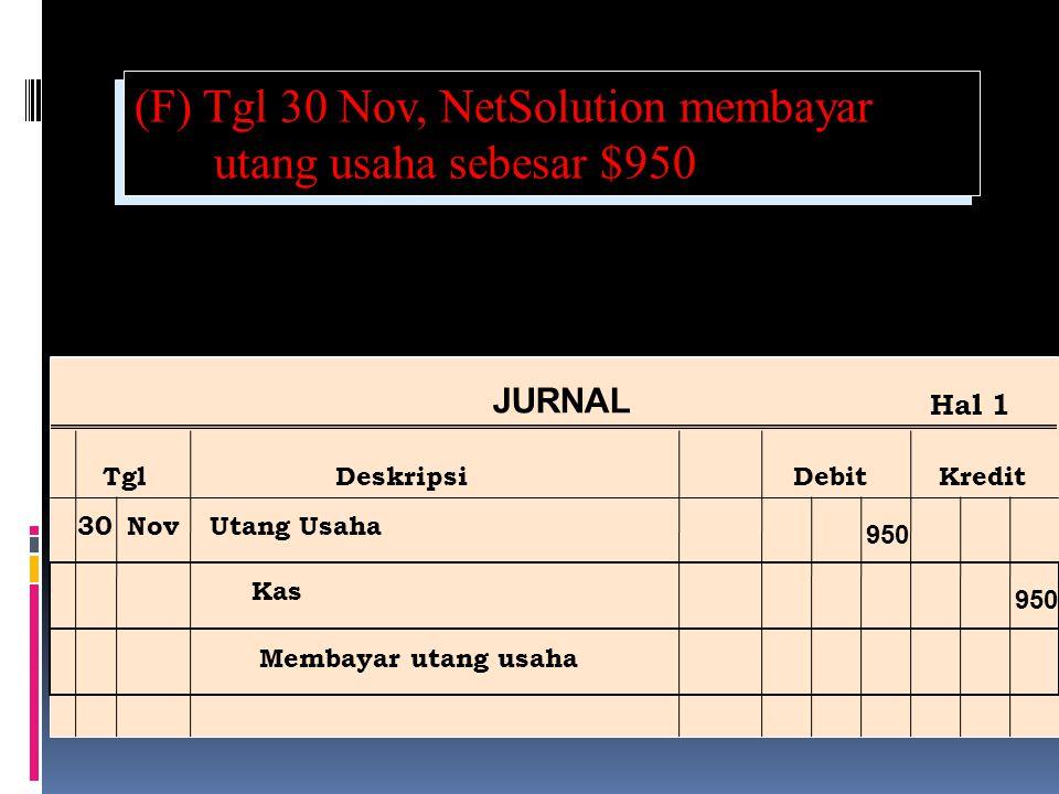 (F) Tgl 30 Nov, NetSolution membayar utang usaha sebesar $950