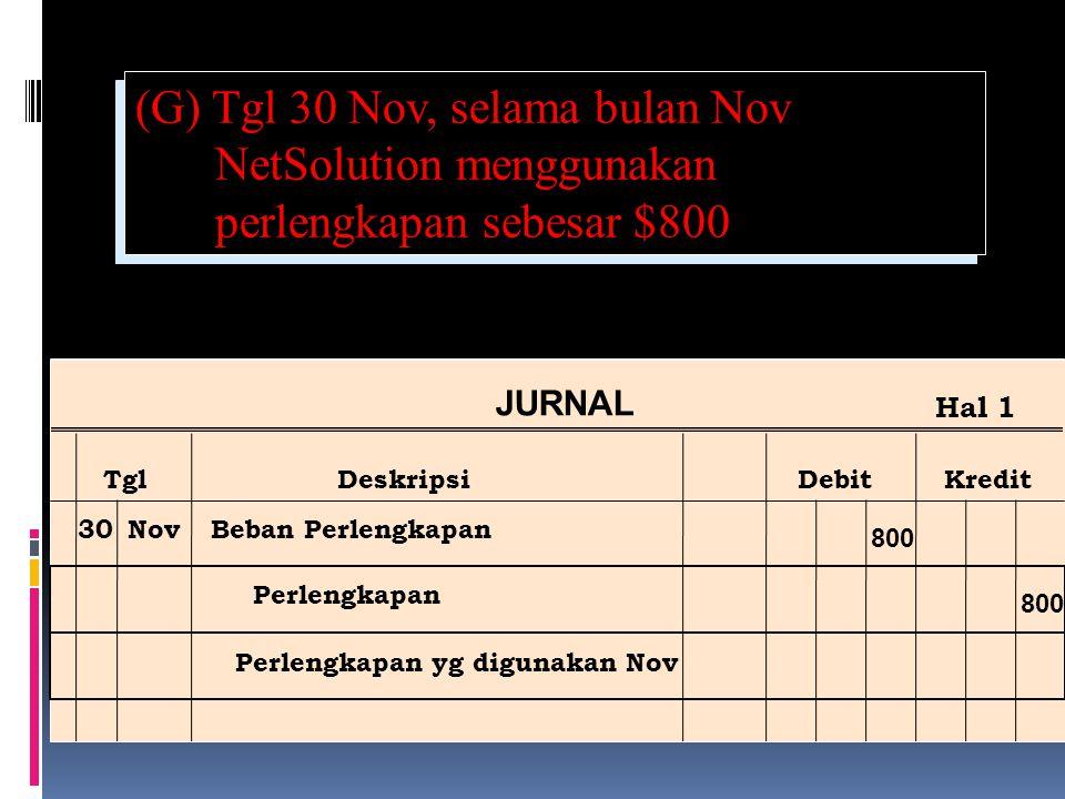 (G) Tgl 30 Nov, selama bulan Nov NetSolution menggunakan perlengkapan sebesar $800