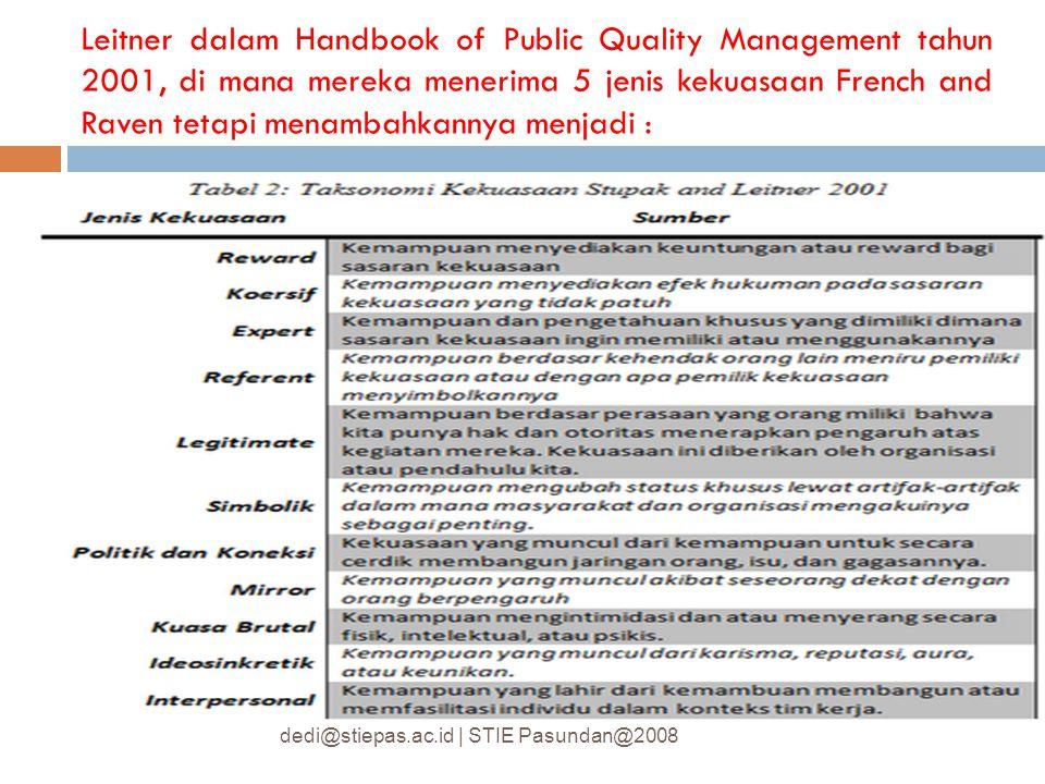 Leitner dalam Handbook of Public Quality Management tahun 2001, di mana mereka menerima 5 jenis kekuasaan French and Raven tetapi menambahkannya menjadi :
