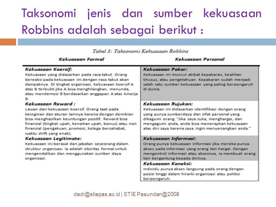 Taksonomi jenis dan sumber kekuasaan Robbins adalah sebagai berikut :