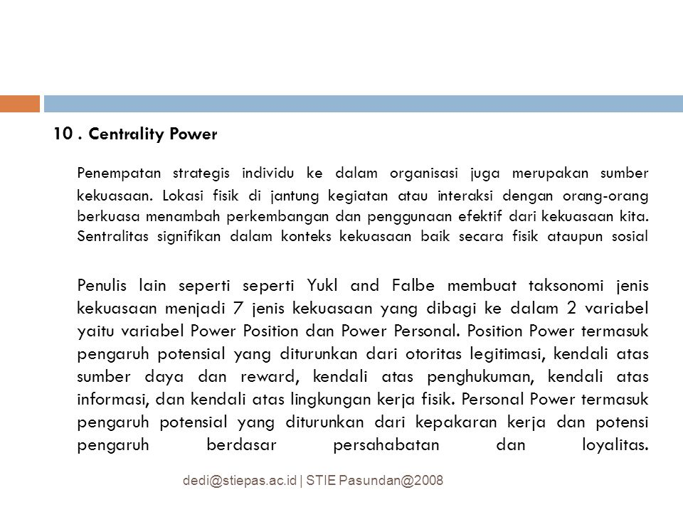 10 . Centrality Power