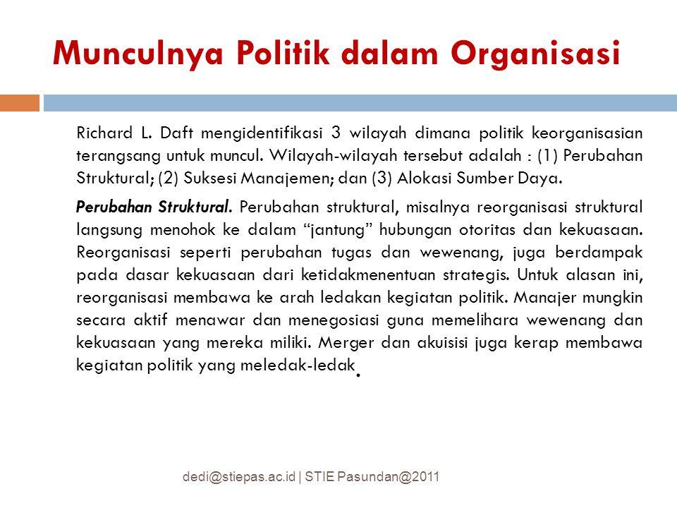 Munculnya Politik dalam Organisasi