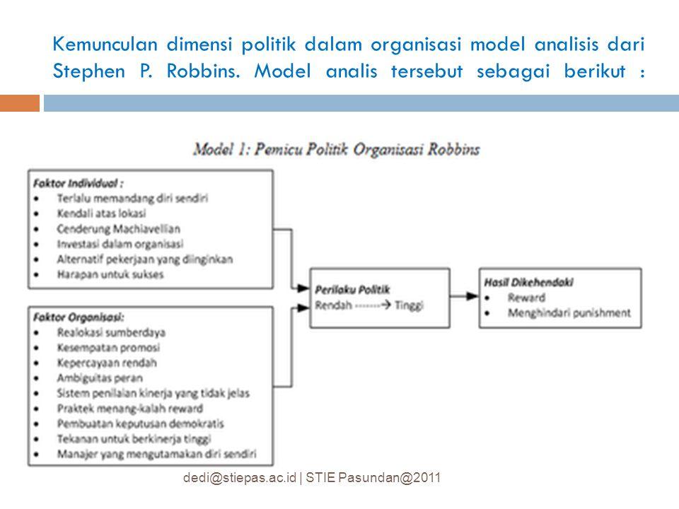 Kemunculan dimensi politik dalam organisasi model analisis dari Stephen P. Robbins. Model analis tersebut sebagai berikut :