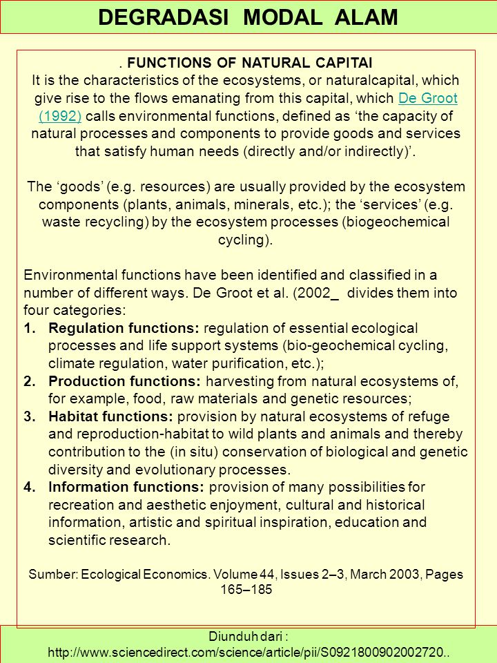 . FUNCTIONS OF NATURAL CAPITAl