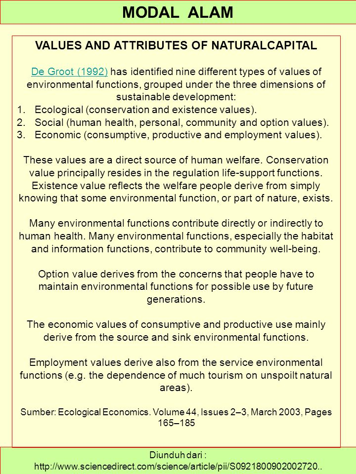 VALUES AND ATTRIBUTES OF NATURALCAPITAL