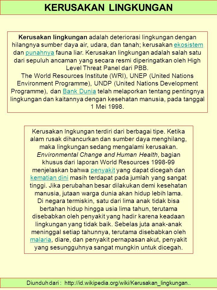 Diunduh dari : http://id.wikipedia.org/wiki/Kerusakan_lingkungan..
