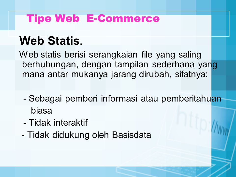 Web Statis. Tipe Web E-Commerce