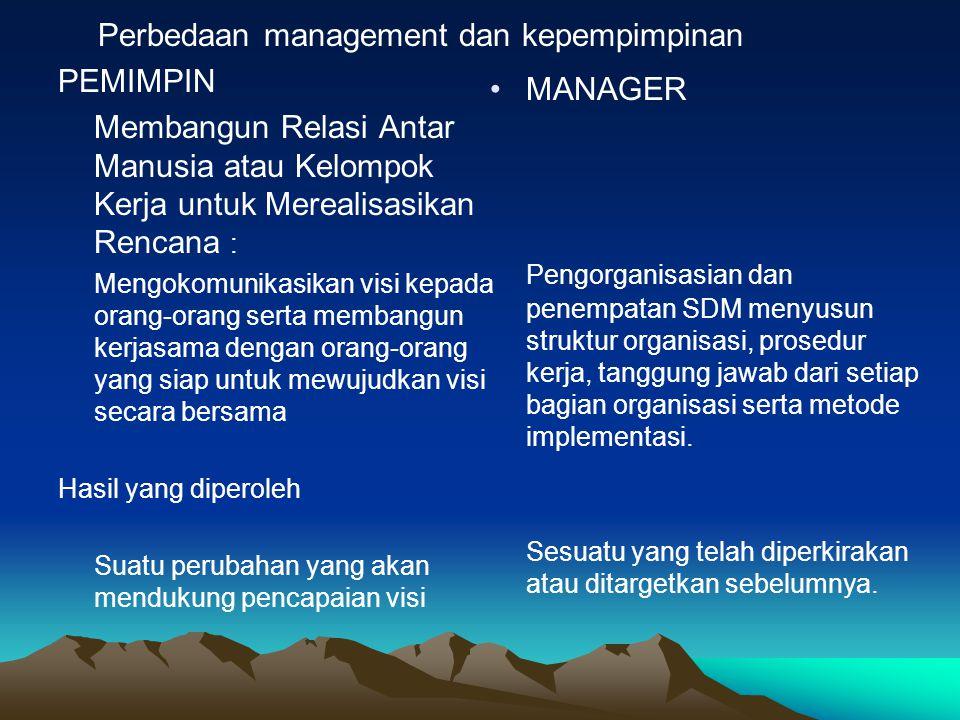 Perbedaan management dan kepempimpinan