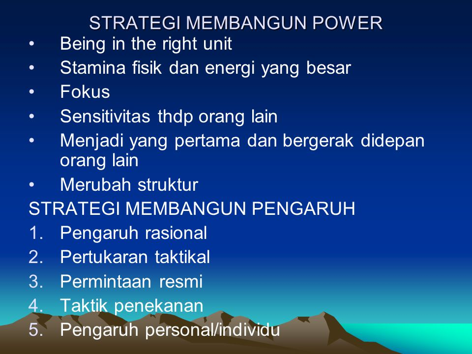 STRATEGI MEMBANGUN POWER