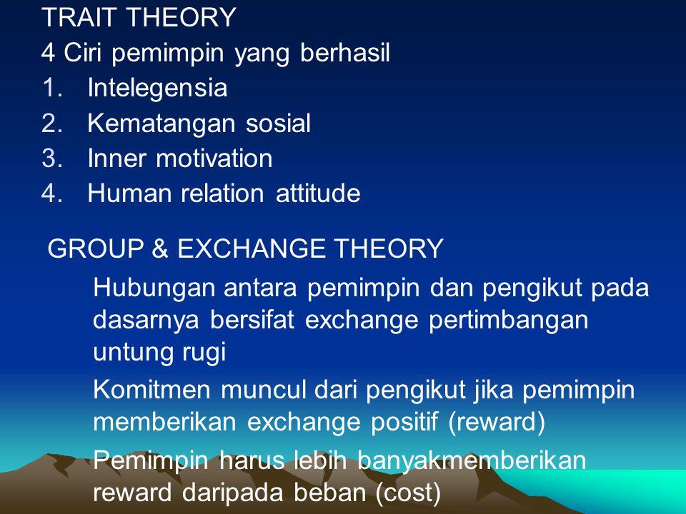 TRAIT THEORY 4 Ciri pemimpin yang berhasil. Intelegensia. Kematangan sosial. Inner motivation. Human relation attitude.