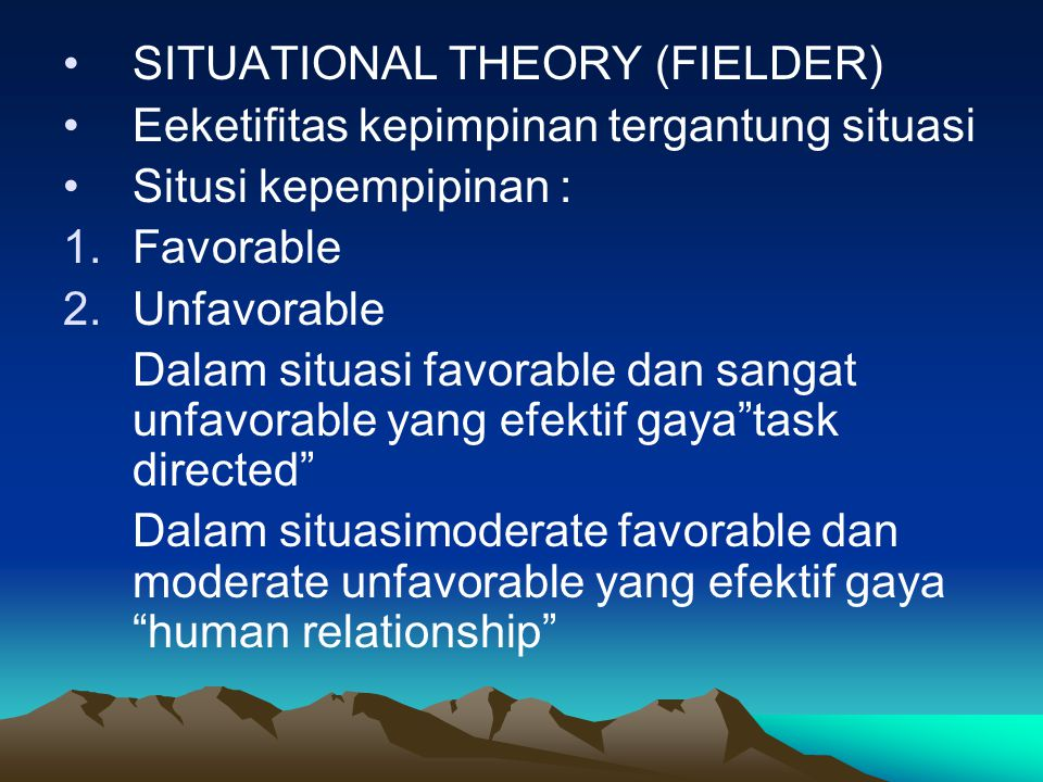 SITUATIONAL THEORY (FIELDER)