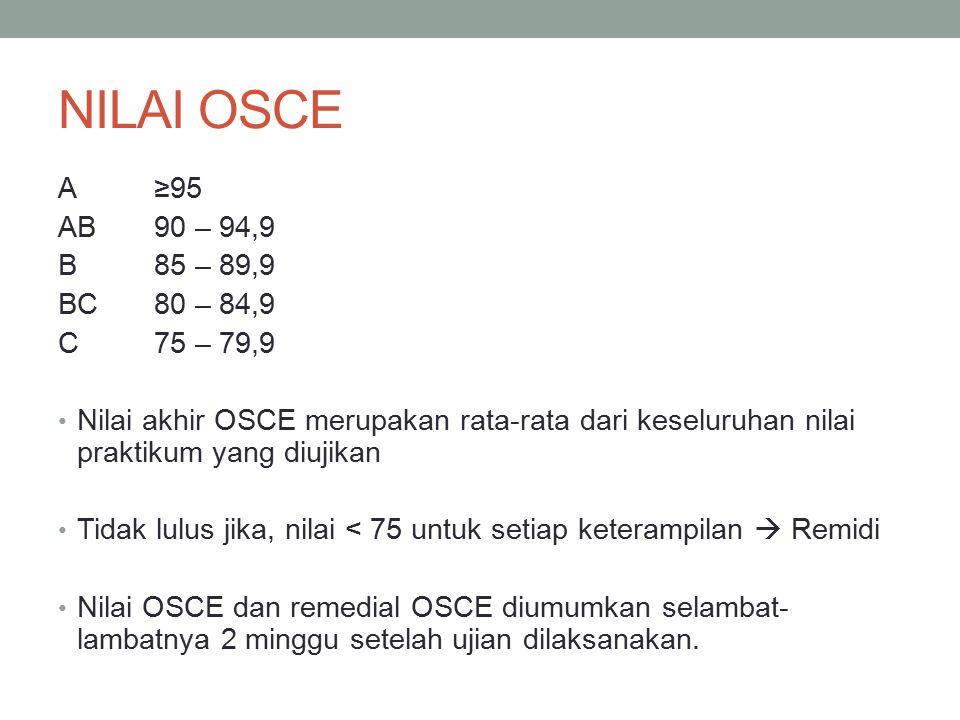 NILAI OSCE A ≥95 AB 90 – 94,9 B 85 – 89,9 BC 80 – 84,9 C 75 – 79,9