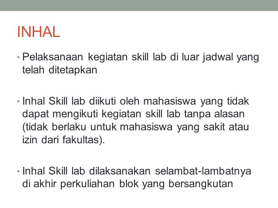 INHAL Pelaksanaan kegiatan skill lab di luar jadwal yang telah ditetapkan.