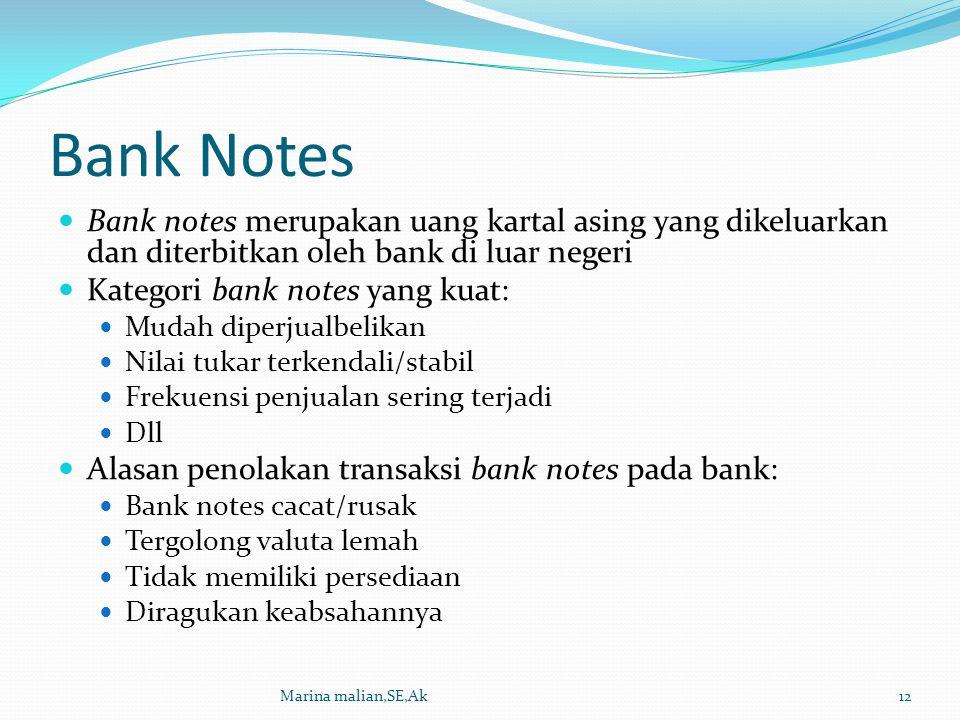 Bank Notes Bank notes merupakan uang kartal asing yang dikeluarkan dan diterbitkan oleh bank di luar negeri.