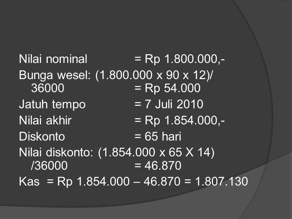 Nilai nominal = Rp 1. 800. 000,- Bunga wesel: (1. 800